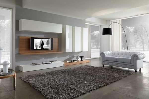 модульная стенка в интерьере гостиной в стиле хай тек
