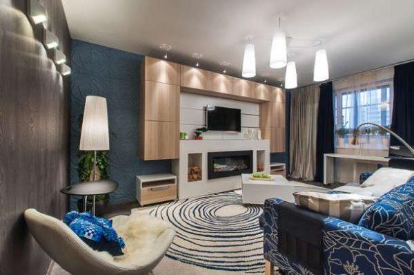 светлая современная модульная стенка в интерьере гостиной