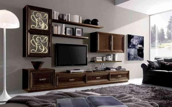 классическая современная модульная стенка в интерьере гостиной
