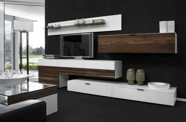 бело-коричневая современная модульная стенка в интерьере гостиной в стиле модерн