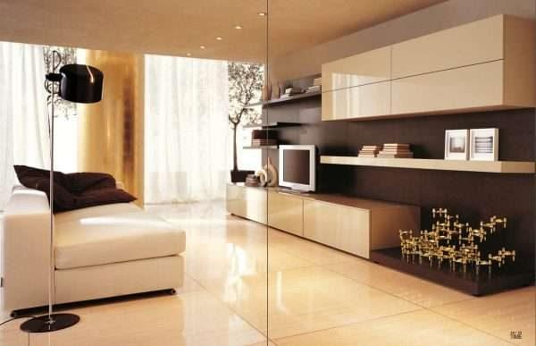 бежевая современная модульная стенка в интерьере гостиной