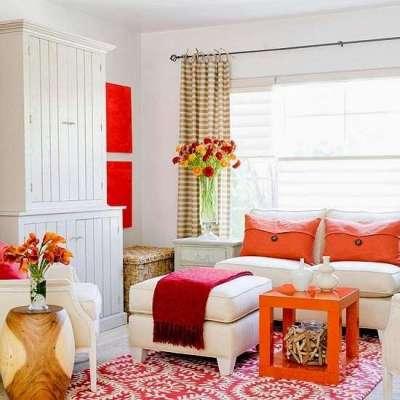 белая стильная современная модульная стенка в интерьере гостиной