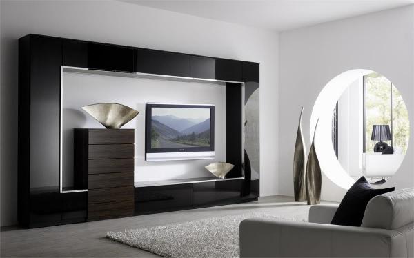 современная модульная стенка в интерьере гостиной в стиле минимализм