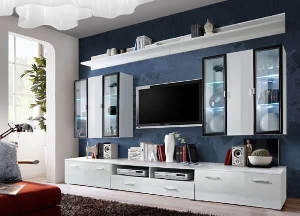 белая современная модульная стенка в интерьере гостиной