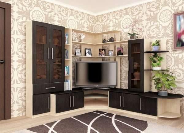 модульная стенка угловая в интерьере гостиной