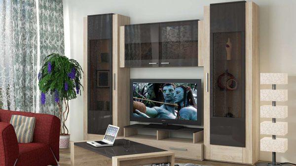 Модульная мебель в интерьере гостиной из стекла