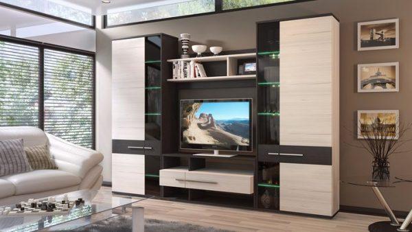 модульная мебель коричневого цвета для гостиной