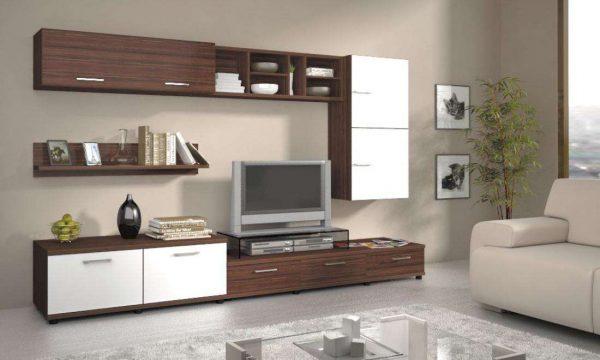 коричневая модульная мебель для гостиной