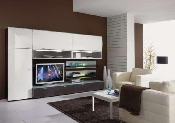 модульная мебель с гладкими фасадами для гостиной
