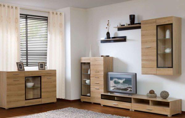 Модульная мебель в интерьере гостиной из ДСП