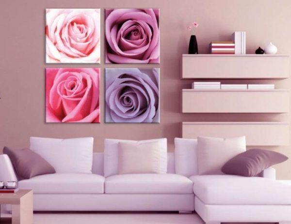 модульные картины с розами в интерьере гостиной