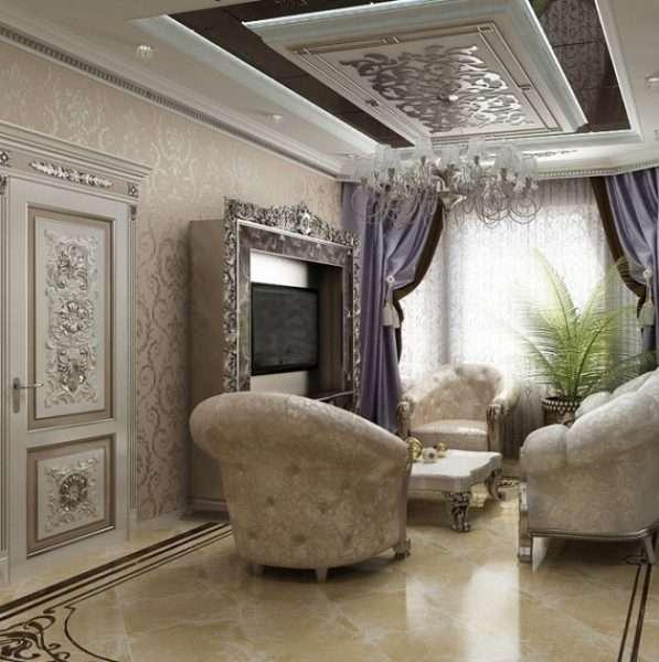 роскошные обои на стенах в гостиной