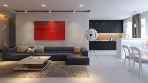 минимализм в интерьере гостиной эконом класса