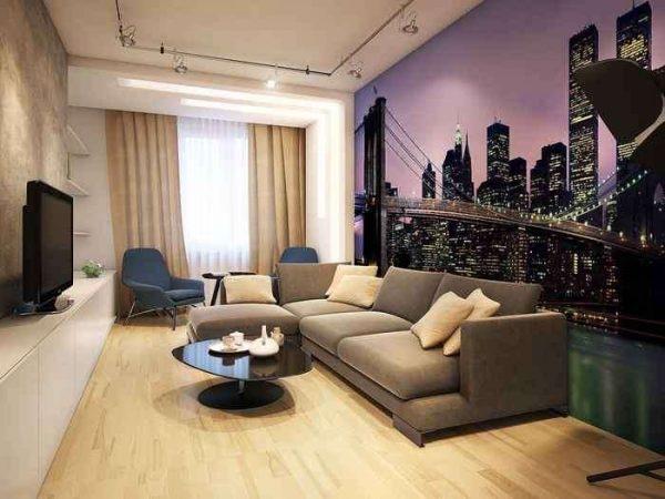 фотообои на всю стену в интерьере гостиной эконом класса