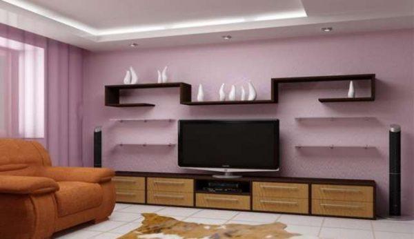 телевизор со стенкой в интерьере гостиной эконом класса