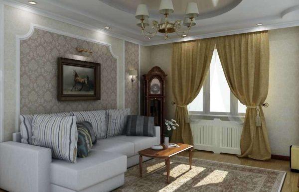 классический стиль в интерьере гостиной эконом класса