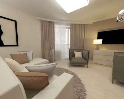 серый и бежевый цвета в гостиной с ремонтом эконом класса