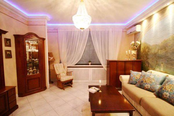 гостиная в классическом стиле после ремонта