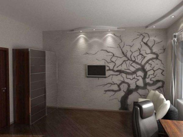 роскошный декор стены в интерьере гостиной после ремонта