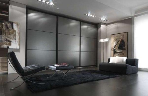 шкаф-купе в гостиной в стиле хай тек