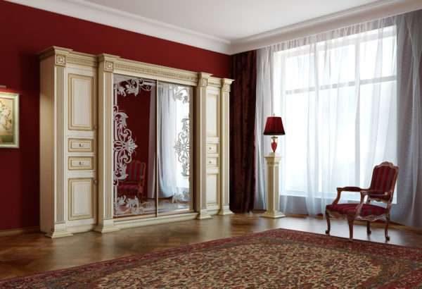 шкаф купе в интерьере гостиной в классическом стиле