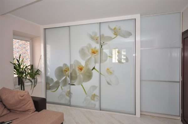 орхидеи на дверях шкафа купе в интерьере гостиной