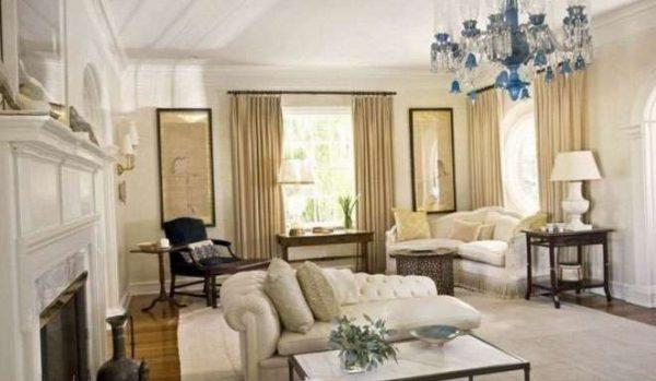 кремовые шторы в интерьере гостиной