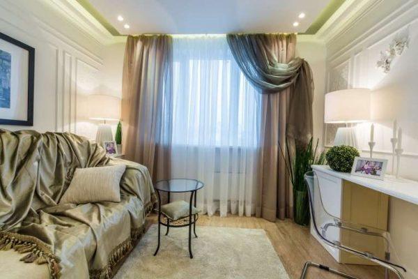 шторы из органзы для гостиной в современном стиле