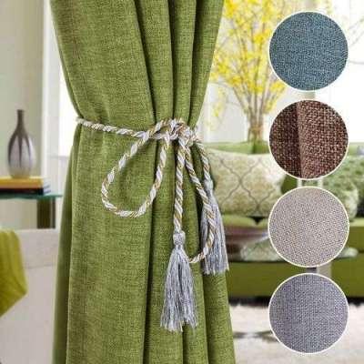 натуральные шторы для гостиной в современном стиле