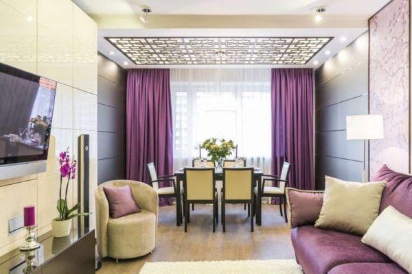фиолетовые шторы для гостиной в современном стиле