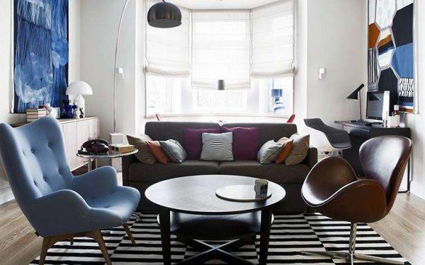 полупрозрачные шторы в интерьере современной гостиной