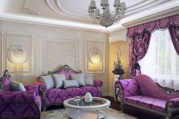 сиреневые шторы в интерьере гостиной в классическом стиле