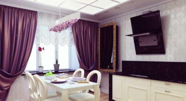 сиреневые шторы в интерьере гостиной в светлых тонах