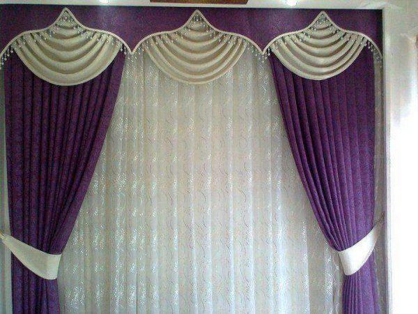 сиреневые шторы с ламбрекенами