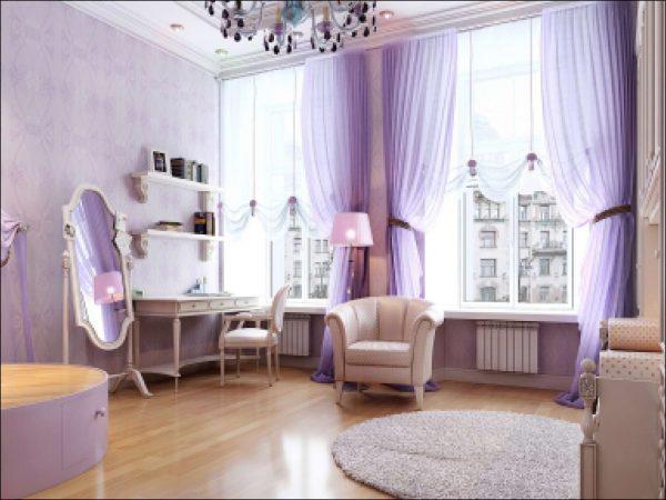 шторы в интерьересиреневой гостиной