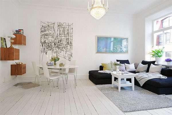 Скандинавский стиль в интерьере гостиной с фотообоями