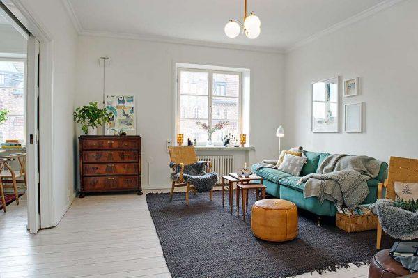 текстиль в гостиной со скандинавским стилем