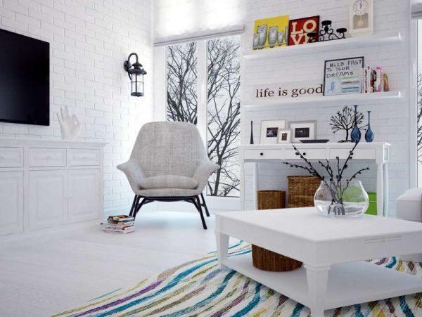 декор в интерьере гостиной со скандинавским стилем