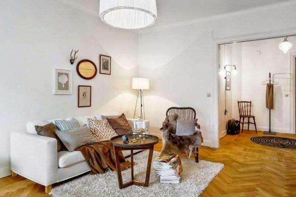 оформление пола в гостиной в скандинавском стиле