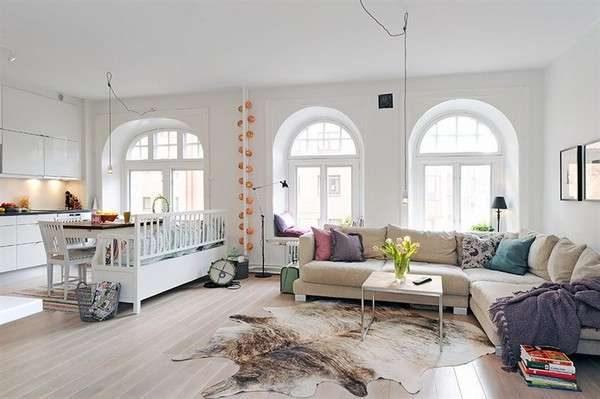 белый цвет в гостиной в скандинавском стиле