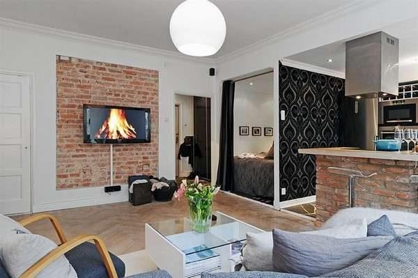 декоративная кладка на стене в интерьере гостиной в скандинавском стиле