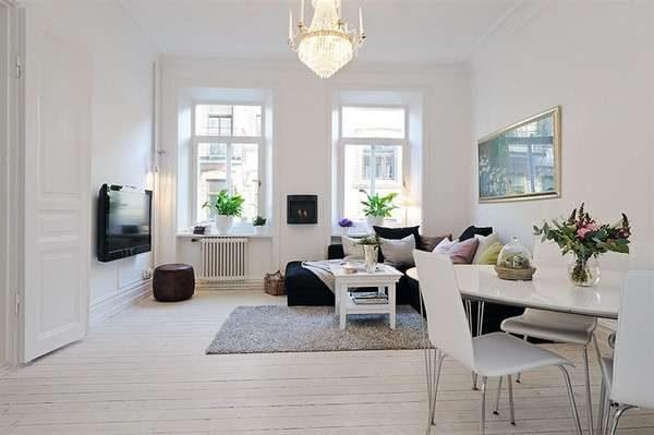 скандинавский стиль в гостиной в белых тонах