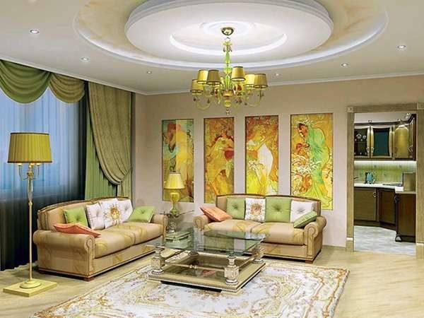 Сочетание зелёного, жёлтого и белого цветов в интерьере гостиной