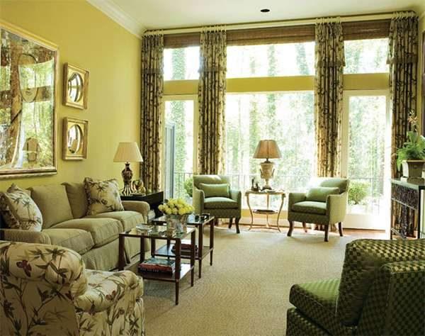 комбинирование зелёных оттенков в гостиной