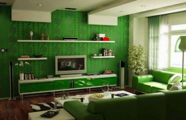 зелёный в интерьере гостиной