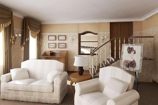 комбинирование коричневого и белого цветов в гостиной