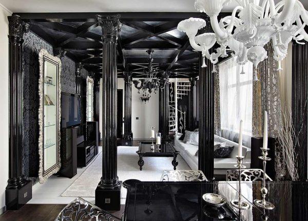 чёрный и белый цвета в интерьере гостиной