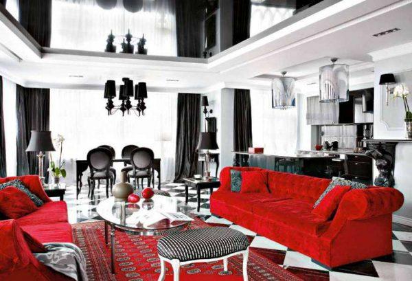 красный, белый, чёрный в гостиной
