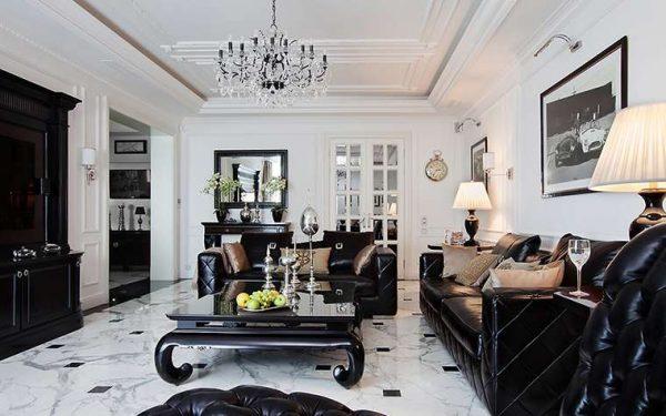 полы из плитки в гостиной современной классики