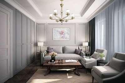 изысканная люстра с белым абажуром в гостиной в стиле современной классики